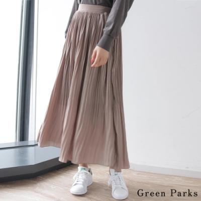 Green Parks 優雅光澤緞面褶皺長裙