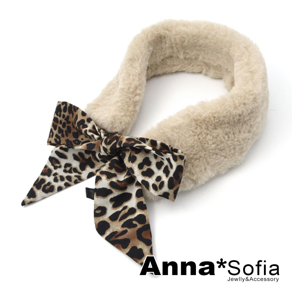 【2件75折】AnnaSofia 豹紋絲巾綁帶 軟柔仿兔毛圍脖圍巾(卡其系)