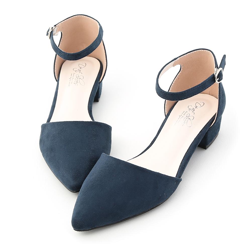 D+AF 完美視覺.尖頭側空低跟瑪莉珍鞋*深藍