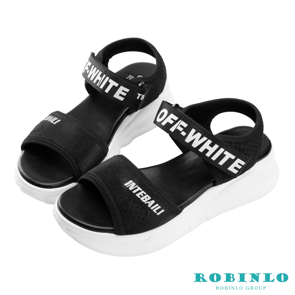 Robinlo 潮流字母高彈力網布涼拖鞋 黑色