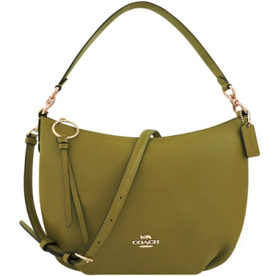 COACH 橄欖綠色荔枝紋皮革抓皺斜背/肩背兩用包