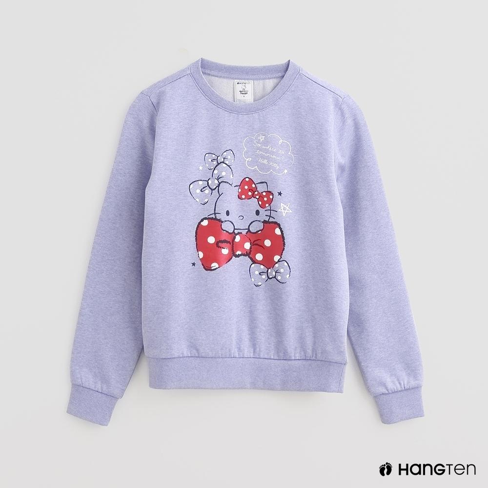 Hang Ten -女裝 - Sanrio-童趣圖樣刷毛圓領長袖上衣 - 紫