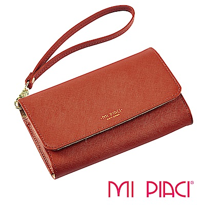 Mi Piaci 革物心語-百貨專櫃-手機零錢包-全牛皮款-1085158-橘色