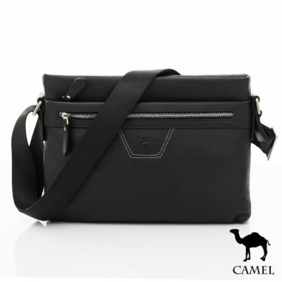 CAMEL - 簡約質感荔枝紋雙層拉鍊牛皮側背包