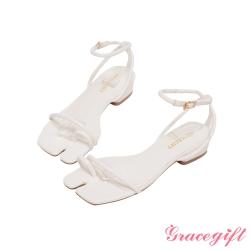 Grace gift-分趾細帶繫踝低跟涼鞋 白