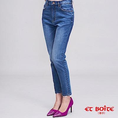ETBOITE 箱子 BLUE WAY 簡約修身高腰女友褲