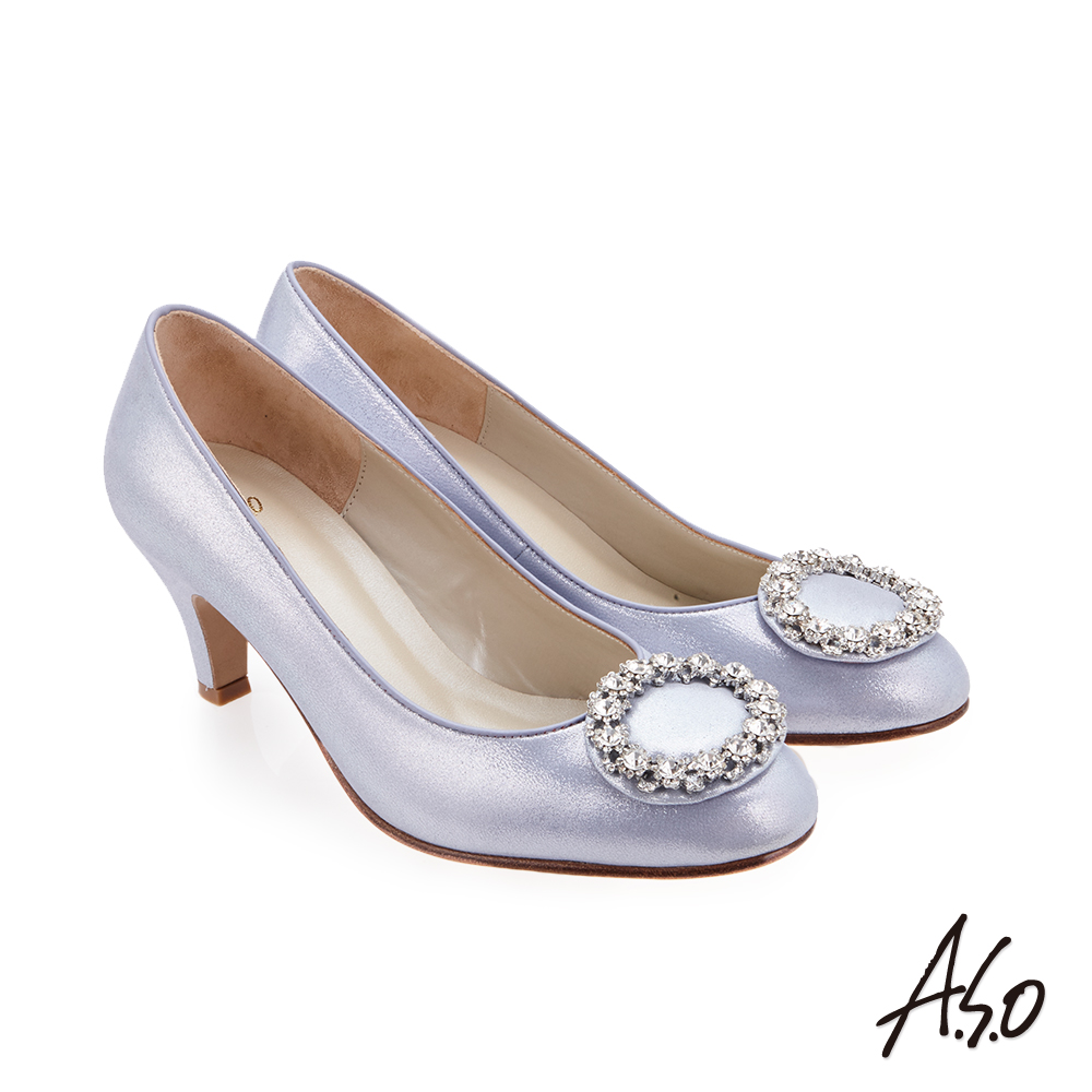 A.S.O 璀璨宴會 圓鑽釦飾金箔羊皮高跟鞋 淺紫