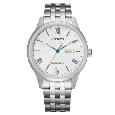 CITIZEN Mechanical時尚機械日期腕錶-銀X藍(NH7501-85A)40mm