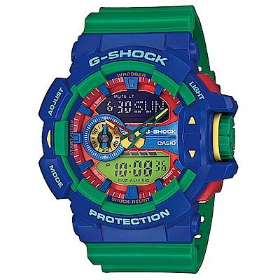 CASIO G-SHOCK 樂高風格跳色運動雙顯錶 (GA- 400 - 2 A)-綠/ 55 mm