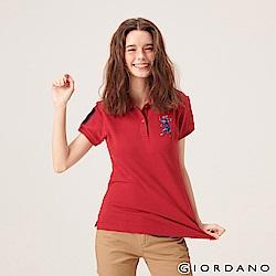 GIORDANO 女裝勝利獅王漸層刺繡彈力萊卡POLO衫-05 標誌紅