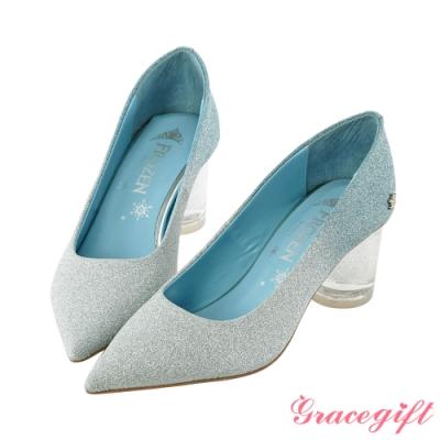 Disney collection by gracegift-冰雪奇緣漸層尖頭鞋 藍