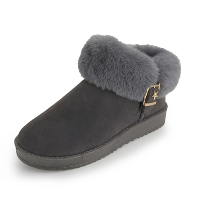 KEITH-WILL時尚鞋館 機能毛毛平底靴-灰色