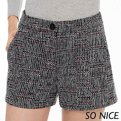 SO NICE俏麗質感粗花呢短褲
