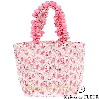 Maison de FLEUR  玫瑰花圖案荷葉手提包