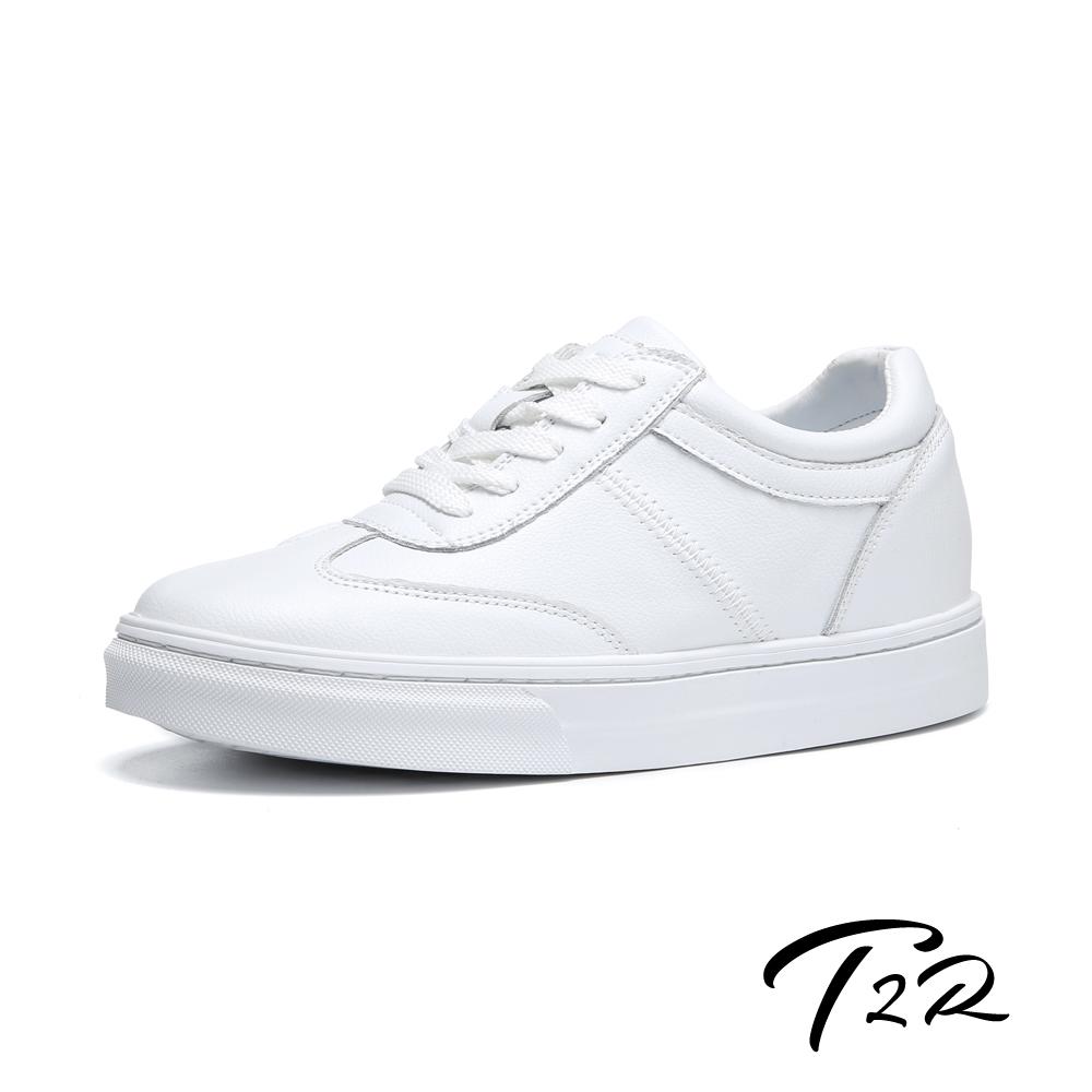 T2R-韓國空運-全真皮-隱形內增高7公分舒適綁帶休閒鞋-白色