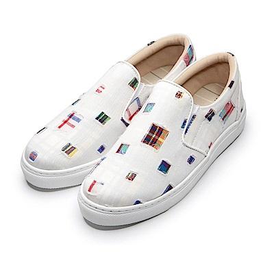 BuyGlasses 復刻版勤儉持家藝術風懶人鞋-白