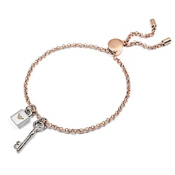Emporio Armani亞曼尼 蜻蜓鎖頭鑰匙造型可調整手鍊 玫瑰金