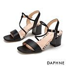 達芙妮DAPHNE 涼鞋-一字撞色拼接粗高跟涼鞋-黑