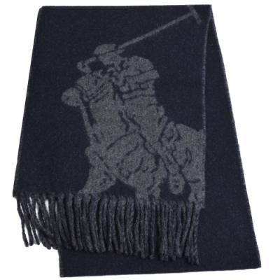 RALPH LAUREN POLO 義大利製大馬圖騰LOGO雙面配色羊毛圍巾(深藍/灰)