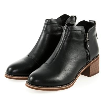 JMS-時尚美型素面造型雙拉鍊短靴-黑色