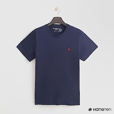 Hang Ten - 男裝 - 有機棉-圓領純色T恤 - 藍