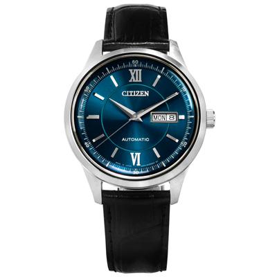 CITIZEN 限量機械錶自動上鍊星期日期視窗牛皮手錶-藍x黑/40mm