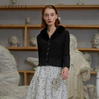 JESSICA - 黑色精緻百搭羊毛混紡毛領短款針織開衫外套