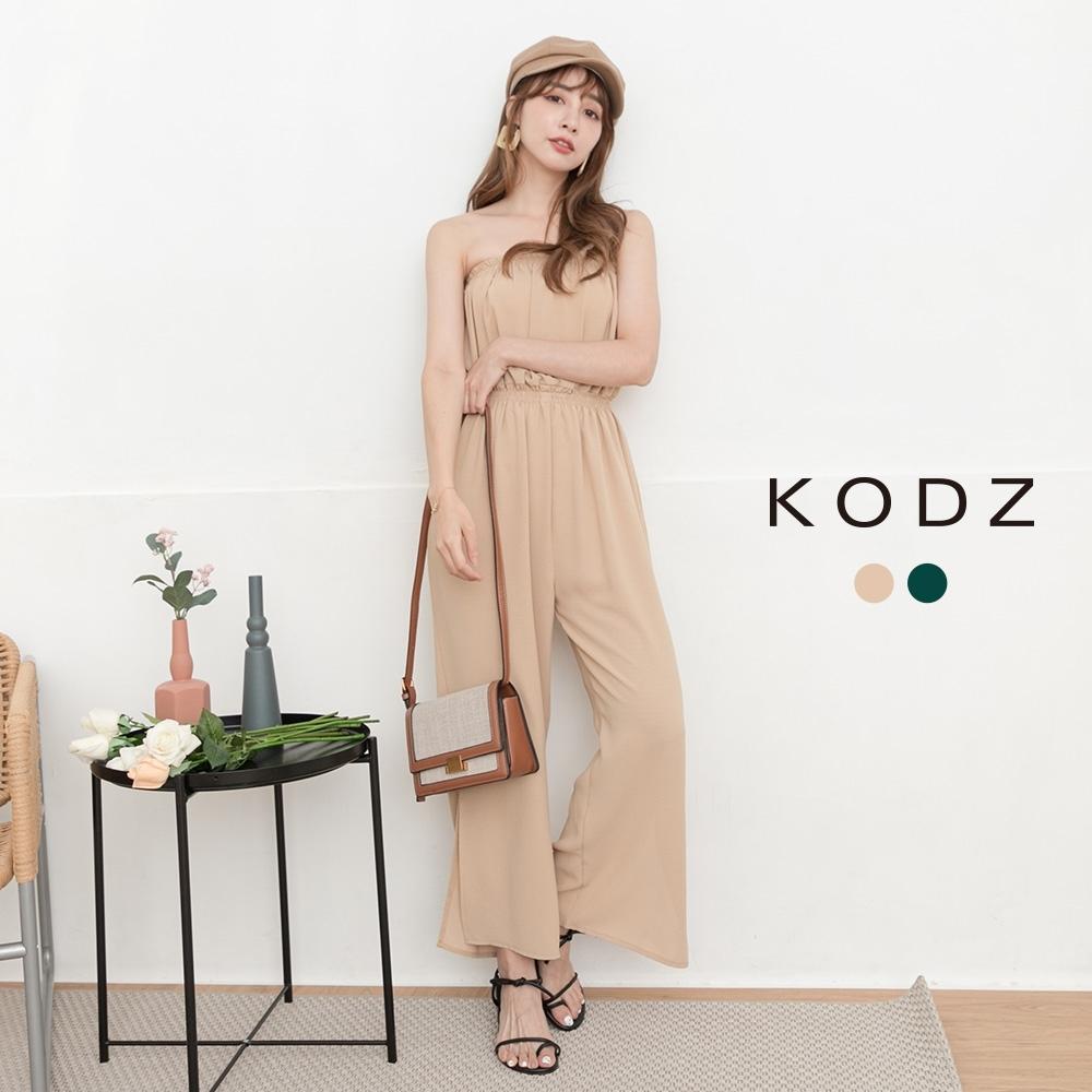 東京著衣-KODZ 時髦韓妞平口鬆緊側開岔連身褲-S.M(共二色)
