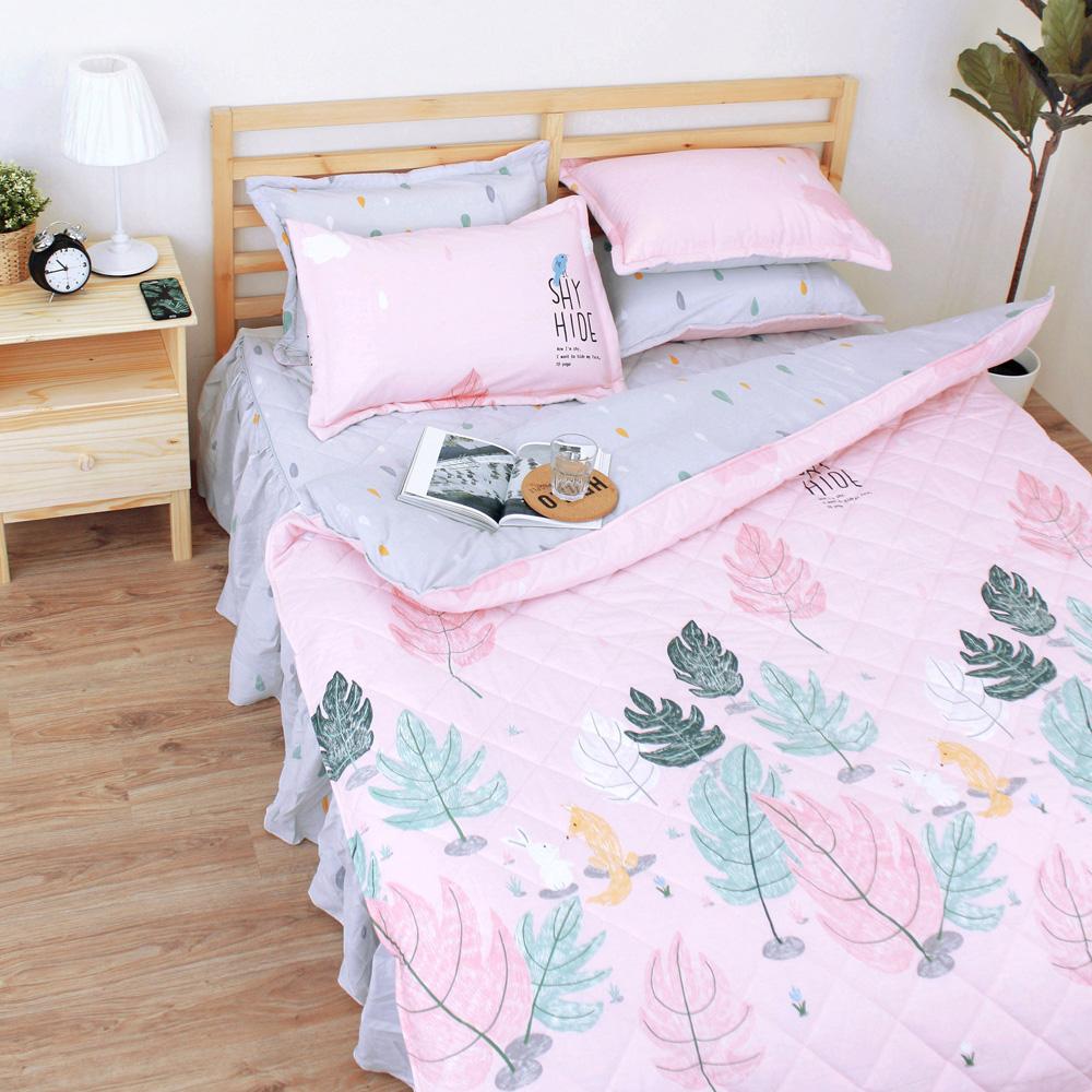 艾莉絲-貝倫 小森林 100%純棉 三件式單人AB版雙面鋪棉床罩組