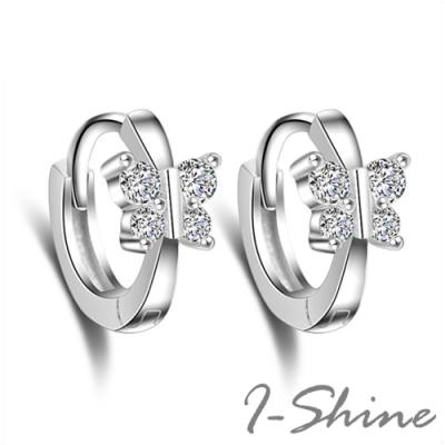 I-Shine-正白K-蝶物語-韓國網紅蝴蝶鑲鑽圈圈圓環造型銀色耳環DB44