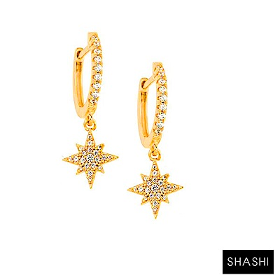 SHASHI Starburst Huggies 鑲鑽光芒星星耳環 鑲鑽簡約小圓耳環 金色