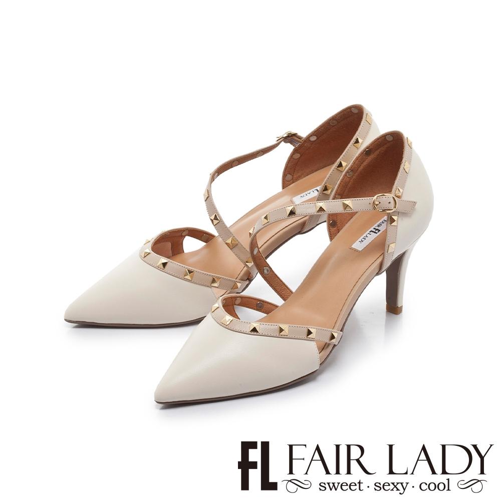 FAIR LADY  優雅小姐 尖頭繞帶鉚釘高跟涼鞋 白