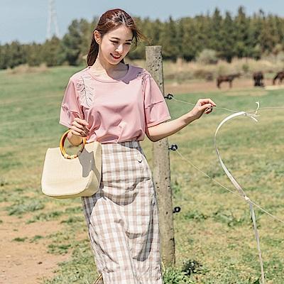 立體感葉子刺繡設計純色袖拼接圓領上衣-OB大尺碼