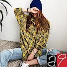正韓 NANING9英倫格紋長版純棉襯衫-(共二色)a9