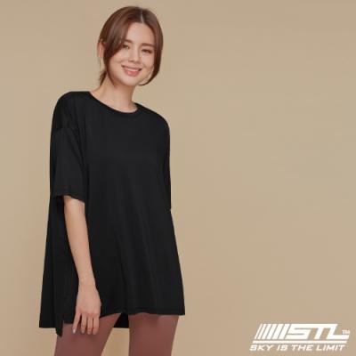 STL yoga Metro NY SS 韓國瑜珈 運動機能 地鐵 蓋臀長版寬鬆短袖上衣 Black黑色