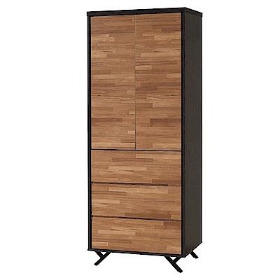 文創集 路華2.7尺雙色衣櫃/收納櫃(吊衣桿+三抽屜+開放層格-80x55x203cm免組