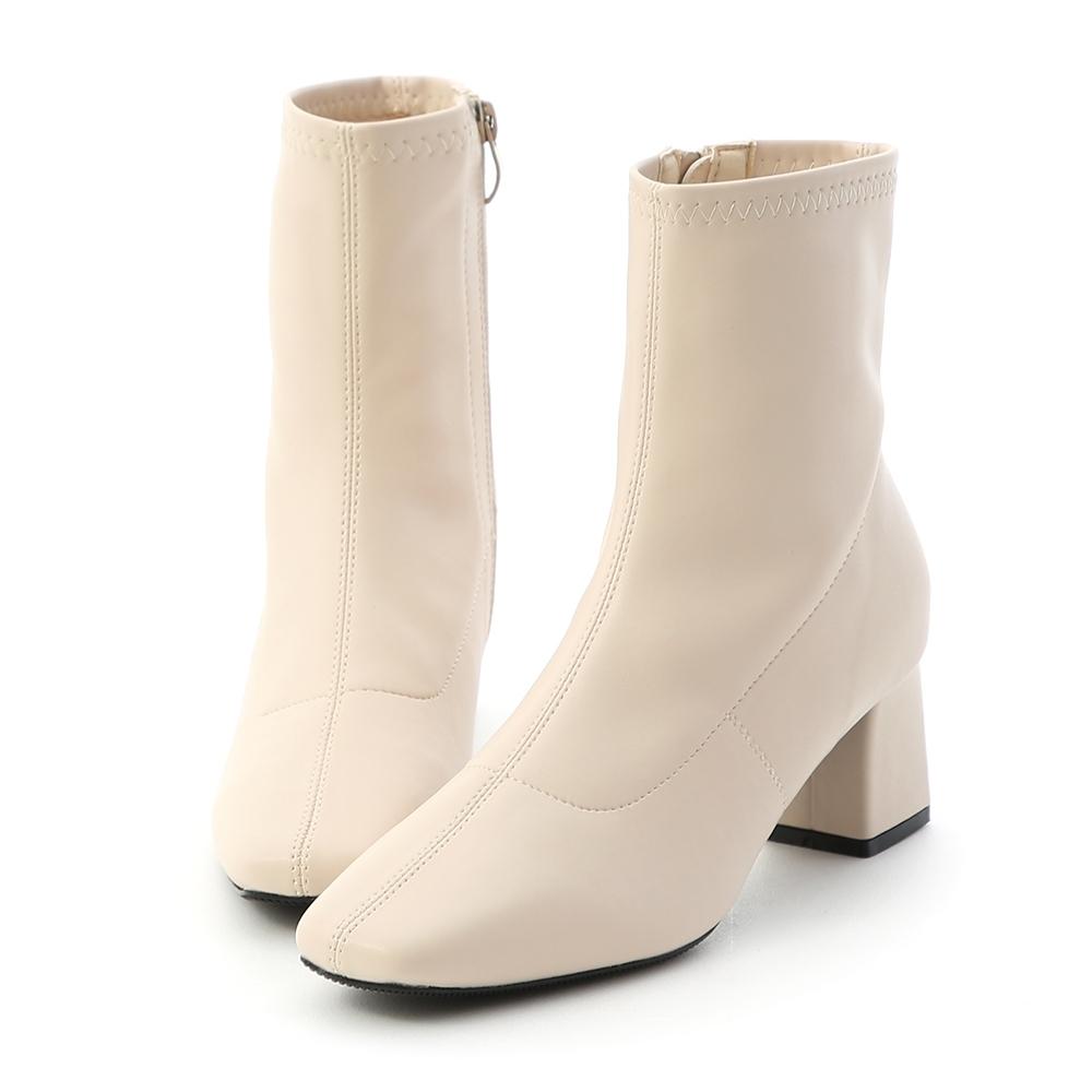 D+AF 時尚聚焦.素面皮質合腿中跟襪靴*米
