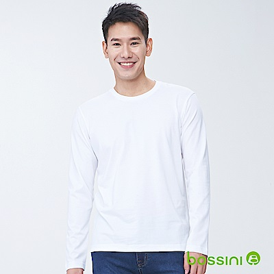 bossini男裝-素色圓領長袖T01白