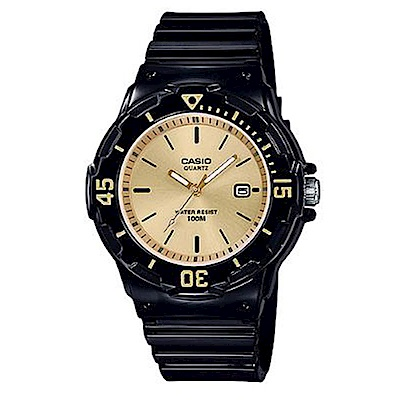 CASIO 簡約錶盤潛水風指針運動錶(LRW-200H-9E)香檳金x黑/32m