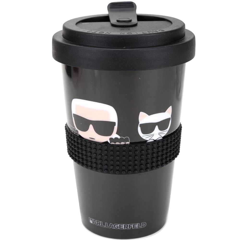 KARL LAGERFELD K/IKONIK Takeaway 卡爾貓咪陶瓷隨行杯(黑色)