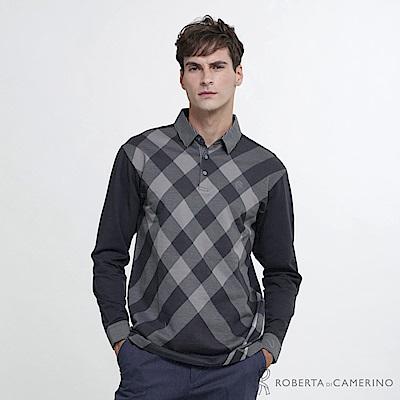 ROBERTA諾貝達 台灣製 都會時尚 純棉菱格紋長袖POLO衫  鐵灰