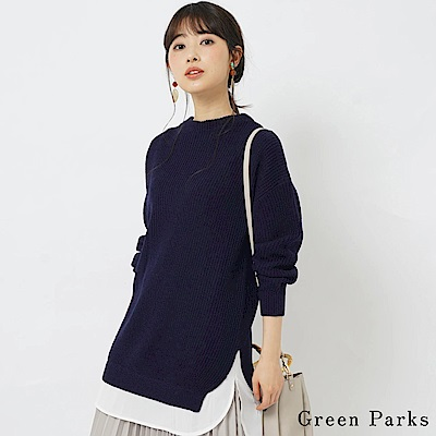 Green Parks 襯衫下擺拼接針織上衣