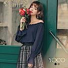 東京著衣-yoco 小心機微性感穿搭美肩真兩件式上衣-S.M.L(共二色)