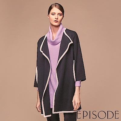 EPISODE - 素面保暖反摺高領長版上衣