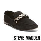 STEVE MADDEN-DAYNA 金屬風鍊帶平底樂福鞋-絨黑色