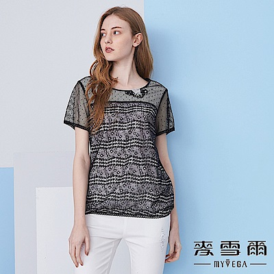 【麥雪爾】銀蔥蕾絲鏤空網袖縮腰上衣