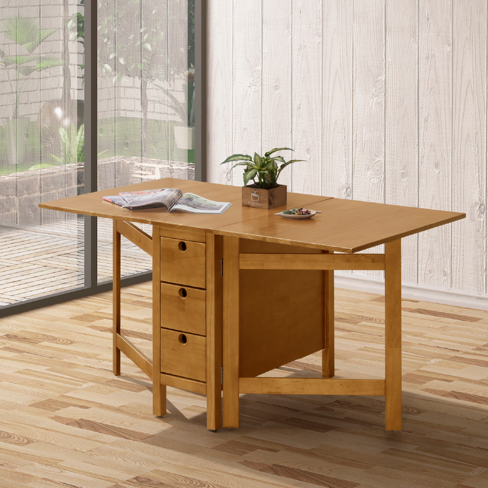 D&T 德泰傢俱 MILANO實木功能餐桌/樟木色-150x80x75cm