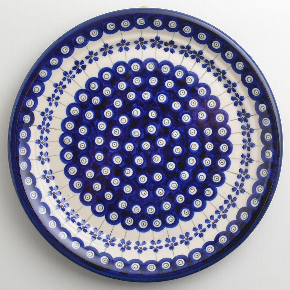 【波蘭陶 Zaklady】 藏青小卉系列 圓形餐盤 25cm 波蘭手工製