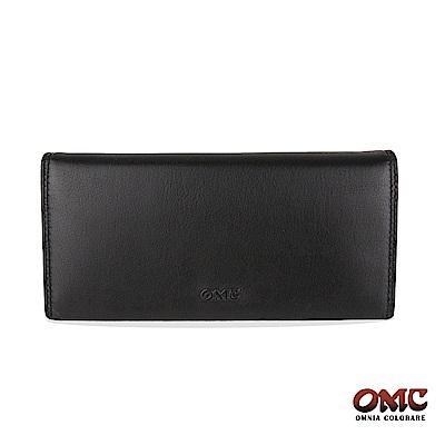 OMC 牛皮素面二折式12卡雙透明窗零錢長夾-黑色