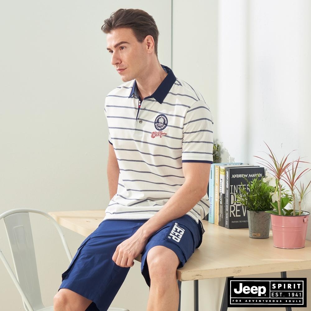 JEEP 男裝 經典條紋吸濕排汗短袖POLO衫-白